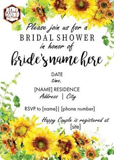 Plan a DIY bridal shower with this Sunflower Bridal Shower Invitation template that is editable in Adobe! From Mandy's Party Printables Bridal Shower Cakes, Bridal Shower Party, Bridal Shower Invitations, Free Baby Shower Printables, Party Printables, Free Printables, Sunflower Baby Showers, Summer Bridal Showers, Adobe