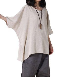 Mordenmiss Women's Summer Tee Shirt Oversized Top (Style 2-beige)