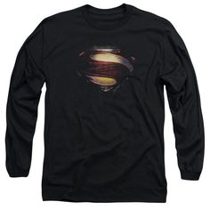 Man Of Steel/Grungy Shield Long Sleeve Adult T-Shirt 18/1 in