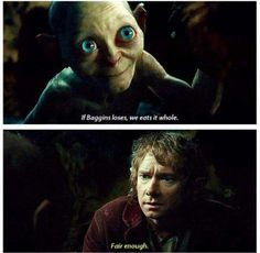 Bilbo decides to play riddles with Gollum, The Hobbit: An Unexpected Journey The Hobbit Movies, O Hobbit, Hobbit Funny, Jrr Tolkien, Narnia, Concerning Hobbits, An Unexpected Journey, Bilbo Baggins, Fandoms