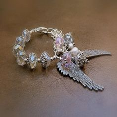 Angel Wings Western Cowgirl Crystal Wing Charm Bracelet by JAYB99, $24.00