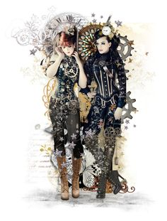 Stars in Time by girlinthebigbox on Polyvore featuring art, stars, clocks and steampunk