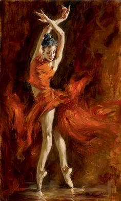 Dancer with orange flashy dress. Stunning colors, gorgeous painting!