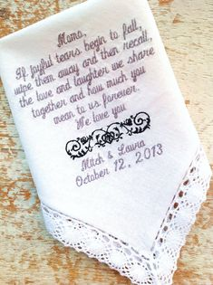 Grandmother from Bride and Groom Wedding heirloom handkerchief custom embroidered personalized hankie gift embroidery, $30.00