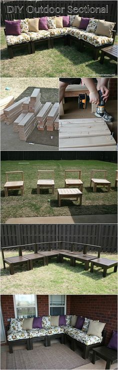 Outdoor Sectional DIY Outdoor Sectional Tutorial - Pin it NOW and build it later!DIY Outdoor Sectional Tutorial - Pin it NOW and build it later! Backyard Projects, Outdoor Projects, Home Projects, Simple Projects, Pallet Projects, Pallet Crafts, Diy Outdoor Furniture, Pallet Furniture, Backyard Furniture