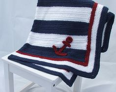 Crochet Nautical Baby Blanket