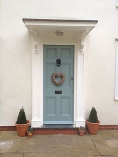 Farrow And Ball Oval Room Blue Front Door Colours Cottage Front Cottage Front Doors, Victorian Front Doors, Front Door Porch, House Front Door, Front Entry, Door Paint Colors, Front Door Colors, Blue Front Doors, Front Door Farrow And Ball