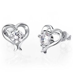 e270106bb YFN 925 Genuine Sterling Silver Cubic Zirconia Small Stud Earrings Love Heart  Shape Earring Jewelry For Women