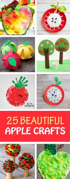 25 easy apple crafts for preschoolers, kinderhartners and older kids to make this fall. Paper plate apples, paper apples, yarn apples, handprint apples, apple tree crafts and more. | at Non-Toy Gifts