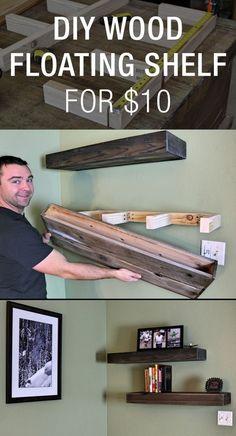 DIY Wood Floating Shelf For $10…: (wood crafts for boys)