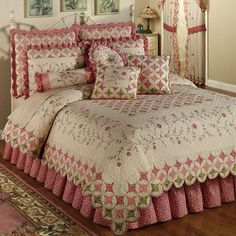 Colchas Country, Cathedral Window Quilts, Cathedral Windows, Paisley Quilt, Shabby Chic Bedrooms, Queen Quilt, Quilt Bedding, Bed Quilts, Pink Bedding