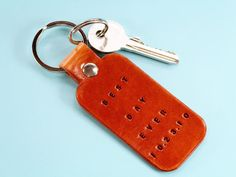 This Drive Safe I Love You leather keyring has individually hand-stamped lettering. This leather keychain would make an ideal leather gift for a new driver. Also, handcrafted leather goods make great anniversary gifts. Why not check out my Etsy shop? Leather Bookmark, Leather Keyring, Leather Gifts, Leather Craft, Handmade Leather, Leather Anniversary Gift, Great Anniversary Gifts, Horse Gifts, Key Fobs
