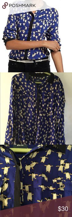 Anthropologie/ Maeve Brand Bagatelle Buttondown Super cute blue penguin print! Front pockets, button down made of rayon. Style No. a2611245. Like new! Anthropologie Tops Blouses