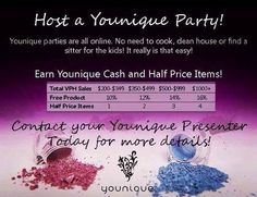 Schedule your Younique online party today! All parties scheduled today and qualify receives a free pigment after the party ends. Schedule your party TODAY!!! https://www.youniqueproducts.com/BridgetteMakaroff/business