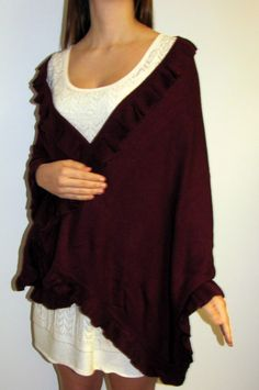 This burgundy ruana cape wrap looks classy for an evening wrap for women who want affordable soft warm wraps and shawls