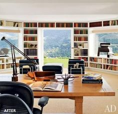 Home Office + Library. I love the openness the windows create..with a chaise lounge or comfy chair to read in this would be the ideal workspace with a library
