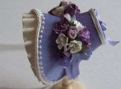 .Beautiful miniature 1/12 scale handmade dollshouse lilacsilk bonnet on Etsy!