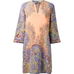 Etro Paisley Print Kaftan (3.183.525 COP) ❤ liked on Polyvore featuring tops, tunics, colorful tops, etro, silk tops, silk tunic and paisley tunic
