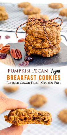 These Vegan Pumpkin Pecan Breakfast Cookies are gluten-free refined sugar free and perfect for snack dessert or breakfast! Make them ahead of time freeze them or take them on travel! Strawberry Oatmeal Bars, Blueberry Crumble Bars, Vegan Breakfast Recipes, Healthy Dessert Recipes, Vegetarian Breakfast, Paleo Dessert, Healthy Treats, Recipes Dinner, Breakfast Ideas