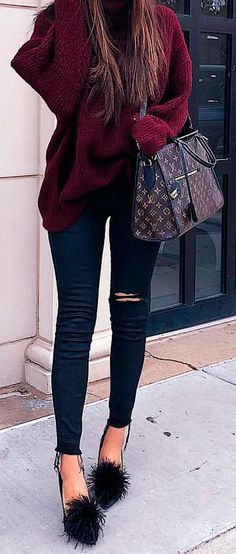 Zara Sweater | DL1961 Black Ripped Denim | Beanie | Pom Heels | Emily Gemma | The Sweetest Thing Blog | Fashion Trends | Winter Trends | Fashion Blogger | Fall Trends | Fall Blogger.