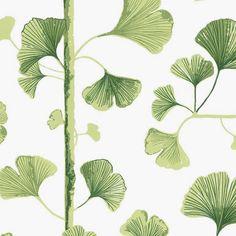 Papier peint Ginkgo vert et blanc de la collection Linnea de Sandberg.