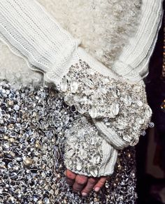 Jewel encrusted knitwear - bead embellished arm warmers & sequinned skirt; sparkly fashion details
