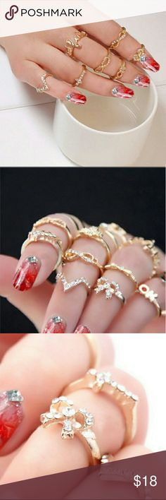 7 piece Midi Ring Set 7 pieces, knuckle stack Gold, rhinestones Fashion jewelry Jewelry Rings