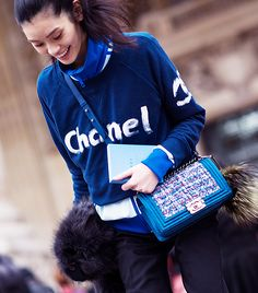 A self-referential outfit is the height of sartorial sophistication.      Pictured: Ming Xi   Image courtesy of Adam Katz Sinding