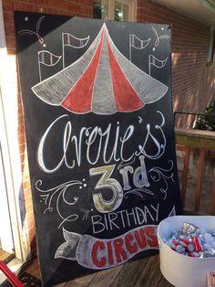 Averie's 3rd Birthday chalkboard art