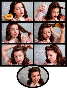Vixen Vintage: Jahre Haar Tutorial - Beauty Tips - Vintage Hairstyles Tutorial, 1940s Hairstyles, Cool Hairstyles, Wedding Hairstyles, Short Hairstyle Tutorial, Hairstyle Tutorials, Easy Hairstyle, Pin Up Hair, My Hair