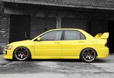 Mitsubishi Lancer Evo - yellow car