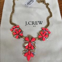 J Crew Factory Crystal Stacked Necklace--Hot pink Beautiful J Crew statement necklace. It is a hot pink/neon with gold accents and crystals. Tres chic! J. Crew Jewelry Necklaces