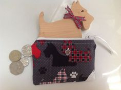 Scottie Dog Fabric Coin Purse  Handmade in Scotland