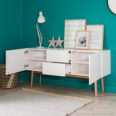 Buffet 2 portes 2 tiroirs en bois laqué blanc pieds chêne L150cm JACOBSON kaligrafik port offert