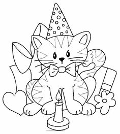 Snubberx: Cat Birthday Coloring Pages