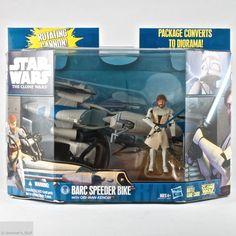Star Wars The Clone Wars Barc Speeder Bike & Obi-Wan Kenobi Hasbro New - MIMB #Hasbro