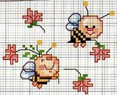 Cross stitch pattern, cute bees.   My first love..punto croce ❤️   Pinterest   Cross stitch, Stitches and Crosses