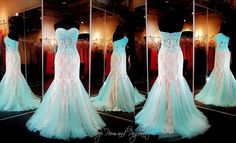 Aqua/Nude Lace Prom Dress-Mermaid-Sheer Midrift-115DJ011600395