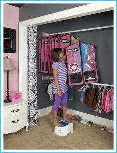 link to clothing organizers you can buy, but I think I could DIY it with clothing bags and labels.  Put the kid's clothes for the week in each bag so that there is no discussion each morning.