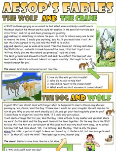 The Wolf and the Crane Reading Comprehension - My Reading Kids Kids Reading, Guided Reading, Teaching Reading, English Short Stories, Reading Comprehension Worksheets, Reading Material, English Vocabulary, Sight Words, Kids Education