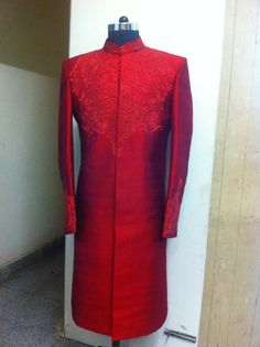 red sherwani by sagar tenali.