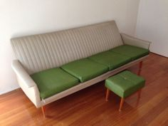 Vintage Retro Green And Cream Click Clack Couch/Sofa With Footstool