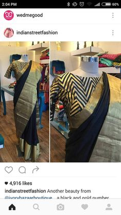 Black Silk Saree Zari Border with chevron print blouse Black Saree Plain, Plain Saree, Saree Blouse Patterns, Saree Blouse Designs, Ethnic Sarees, Indian Sarees, Indian Attire, Indian Wear, Indian Dresses
