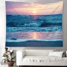 Discover the best beach themed tapestries and coastal wall tapestries. We love beach wall decor and tapestries are affordable and beautiful, which makes them a great option. Beach Room Decor, Teen Room Decor, Dorm Tapestry, Tapestry Bedroom, Beach Color Palettes, Cool Tapestries, Bedroom Themes, Bedrooms, Bedroom Ideas