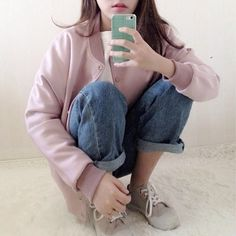 ★	★	★	★	★ five stars (pastel pink silk varsity jacket, light wash mom jeans cuffed, beige and white sneakers, white tee)
