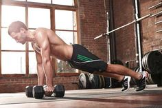 Dumbbell Pushups - Set dumbbells either in line  (shown) or across your body at shoulder width. Perform pushups with your hands in a neutral grip...