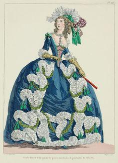 Galerie des Modes, Grande Robe de Cour. (French 18th Century Fashion Plate)