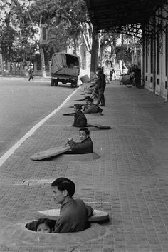 Hanoi during an air raid alert, Vietnam, 1967