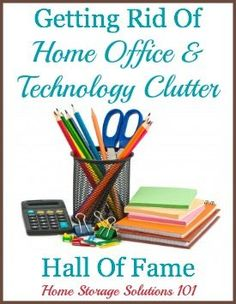 Getting rid of technology and home office clutter: list of ideas of things to declutter plus examples of what people have tossed {on Home Storage Solutions 101}
