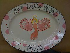 Footprint  & Handprints Christmas Angel Plate